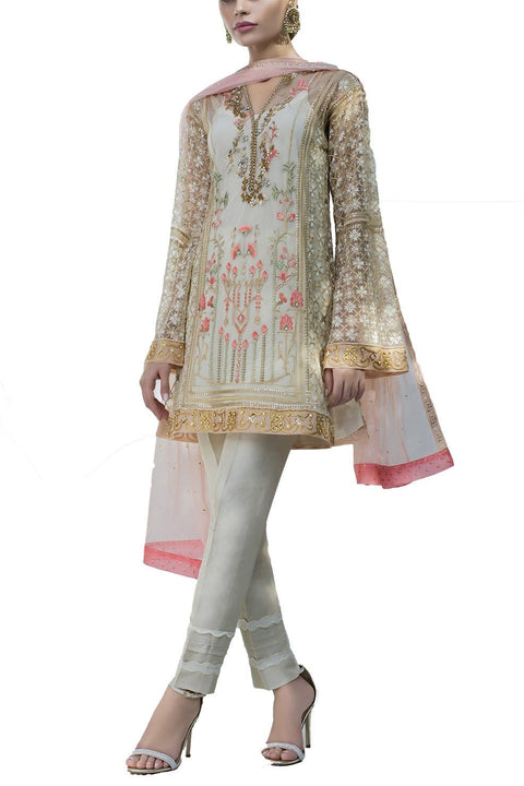 Sania Maskatiya - Indian Net Sequins Embroidered Shirt With Raw Silk Pants & Duppata