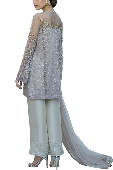 Sania Maskatiya - Indian Net Floral Embroidered Shirt With Raw Silk Pants & Net Duppata