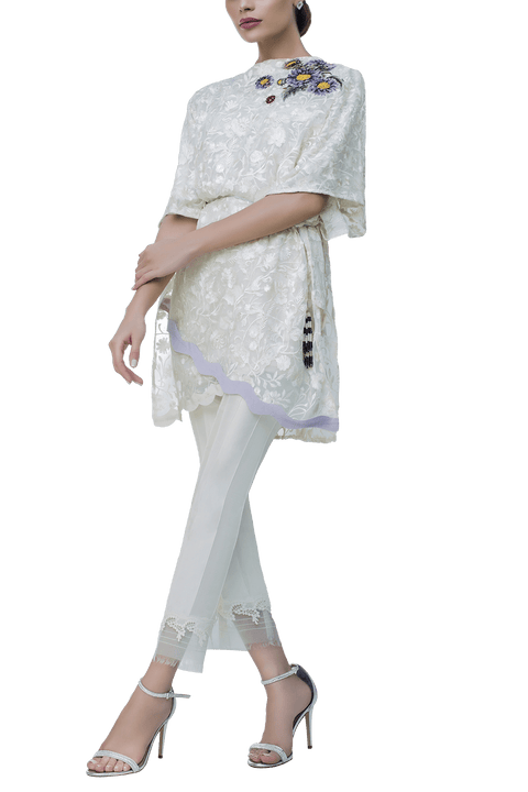 Sania Maskatiya - Chiffon Floral Embroidered Top With Raw Silk Pants