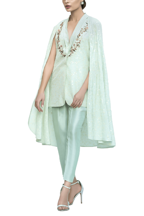 Sania Maskatiya - Crepe Sequins Embroidered Top With Raw Silk Pants