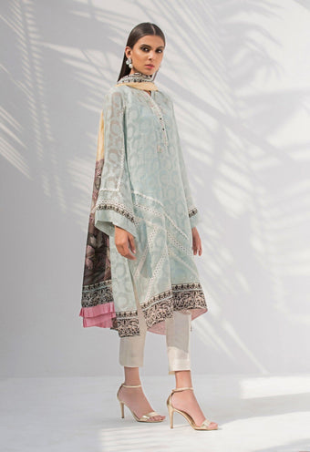 Sania Maskatiya - Cotton Net Self Print Shirt & Dupatta