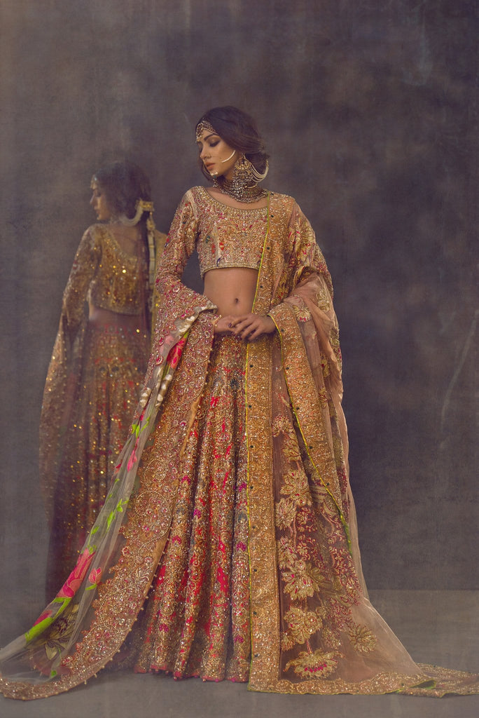 Ali Xeeshan - Coral & Gold Raw Silk Bridal Dress