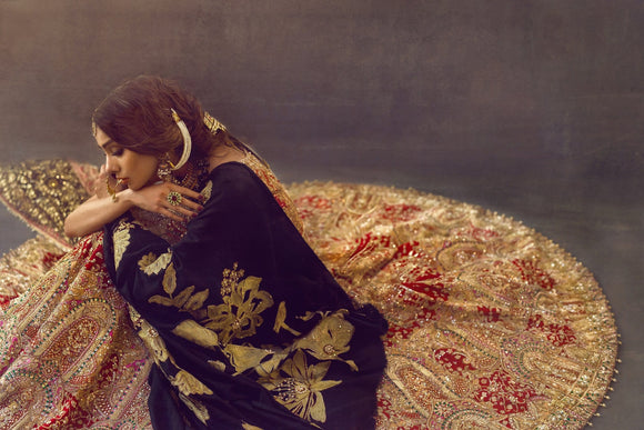 Ali Xeeshan - Red & Gold Raw Silk Bridal Dress