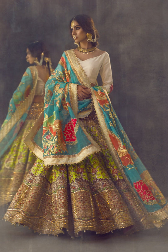 Ali Xeeshan - Blue & Green Raw Silk Bridal Dress
