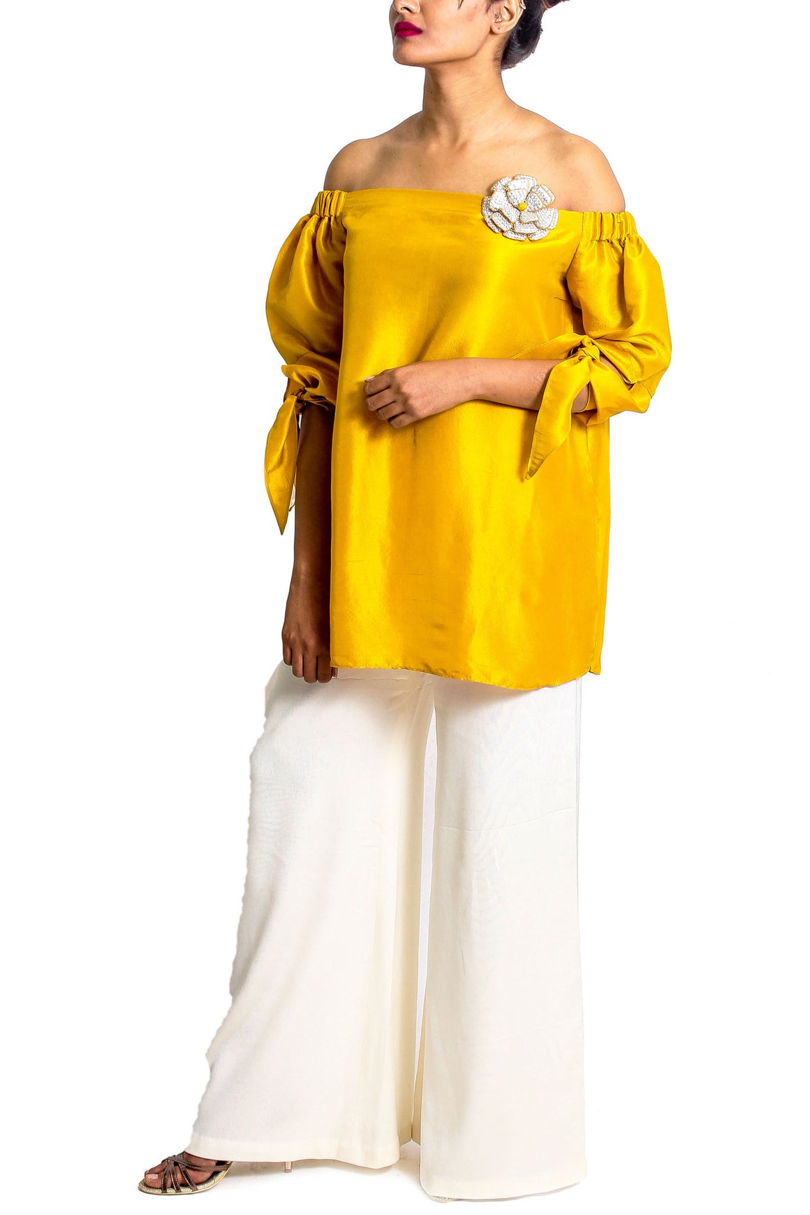 Maheen Karim - Mustard Yellow Raw Silk Crystal Rosette Top