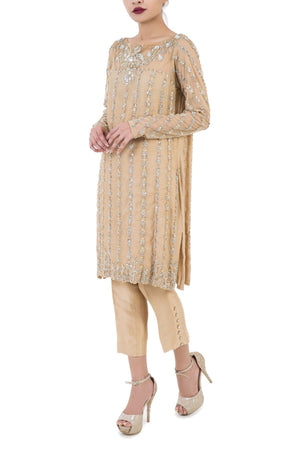 Maheen Karim - Net & Silk Tunic With Cigarette Pants