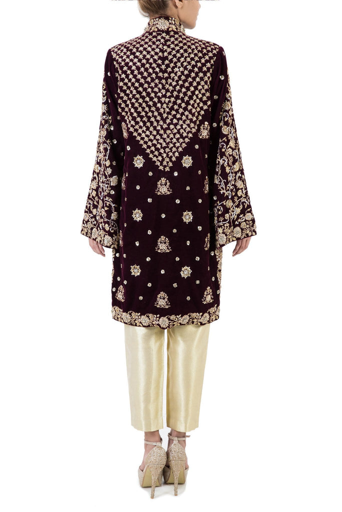 Maheen Karim - Plum Velvet Jacket With Pants