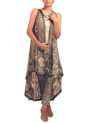 Tena Durrani - Grey Maya Two Piece Net Suit