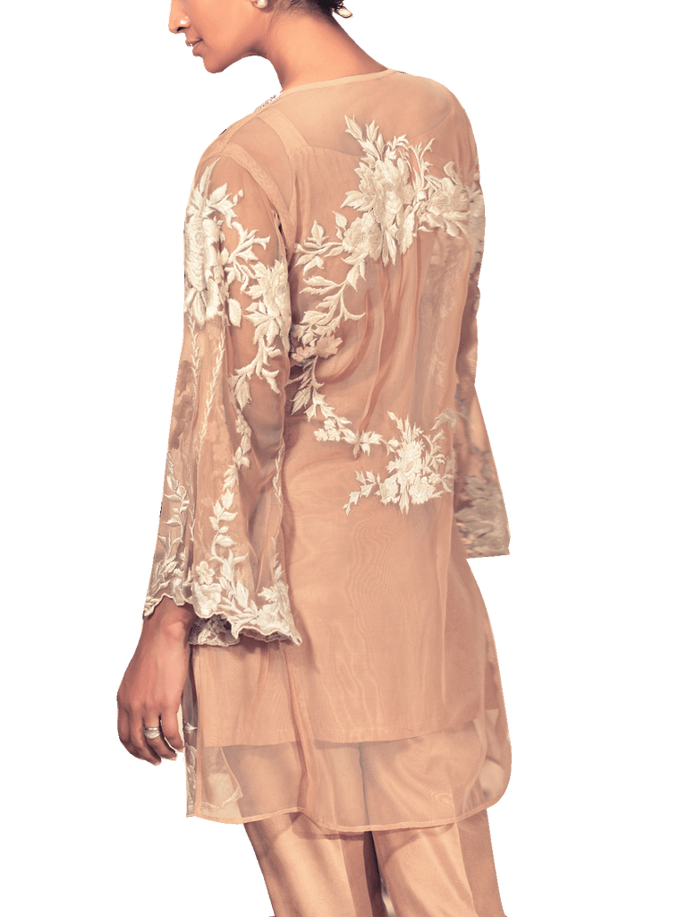Tena Durrani - Multicolour Dusty Rose Two Piece Net Suit