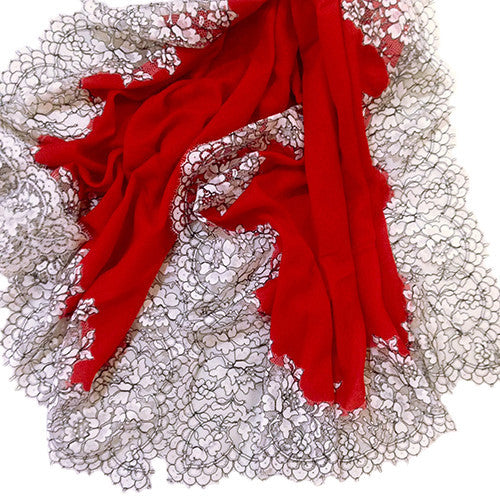 Amishi - New Elegant Red Color Luxury Scarf