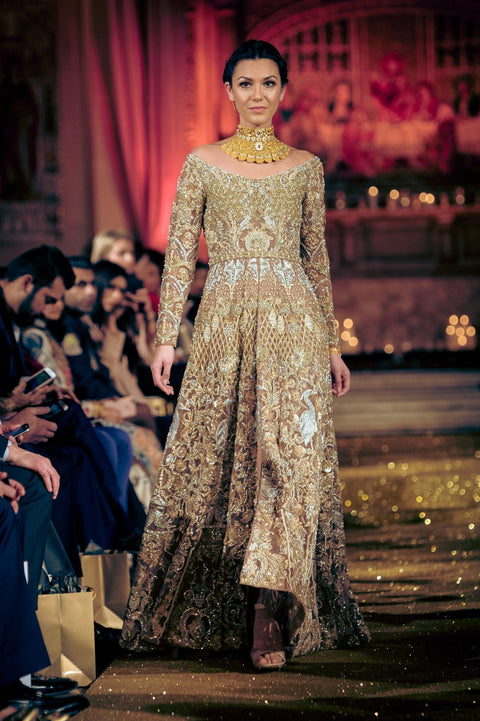 Rani Emaan - Net Full Length Gown With Lehnga - Raj Hans