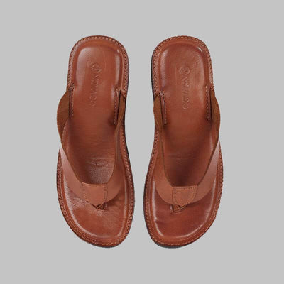 Novado - Rust Milan Flip Flop Thong Leather Slipper