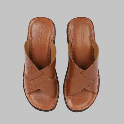 Novado - Rustic Brown  Sage Leather Slides Slippers For Men