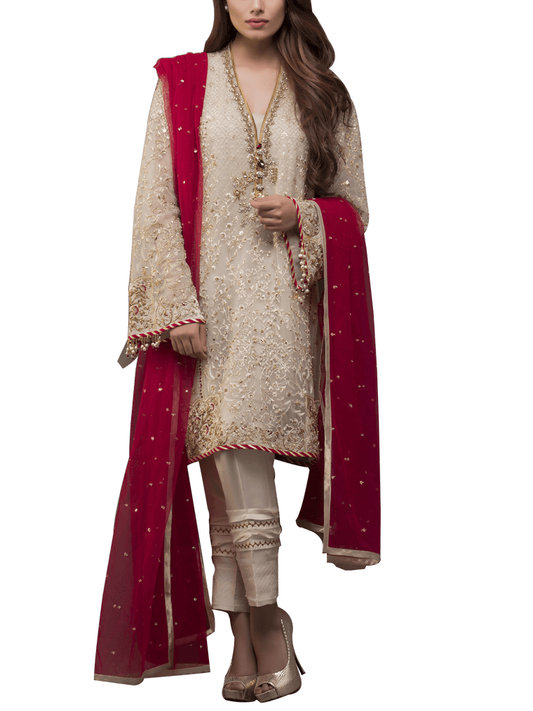 Sania Maskatiya - Indian Net  Hand Worked And Embroidered Shirt With Pants