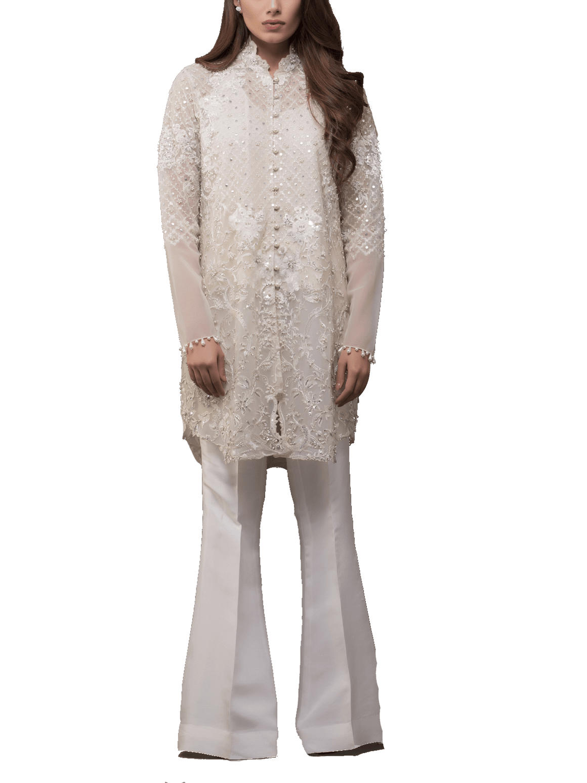 Sania Maskatiya - Indian Net Hand Worked And Embroidered Shirt With Raw Silk Palazzo