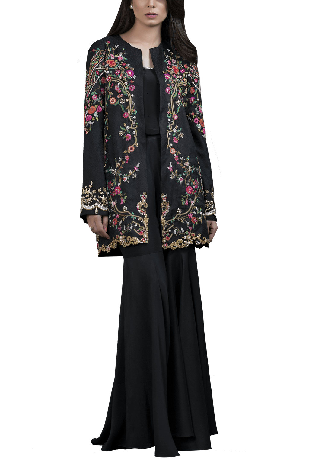 Sania Maskatiya - Raw Silk Hand Embroidered Jacket With Raw Silk Gharara