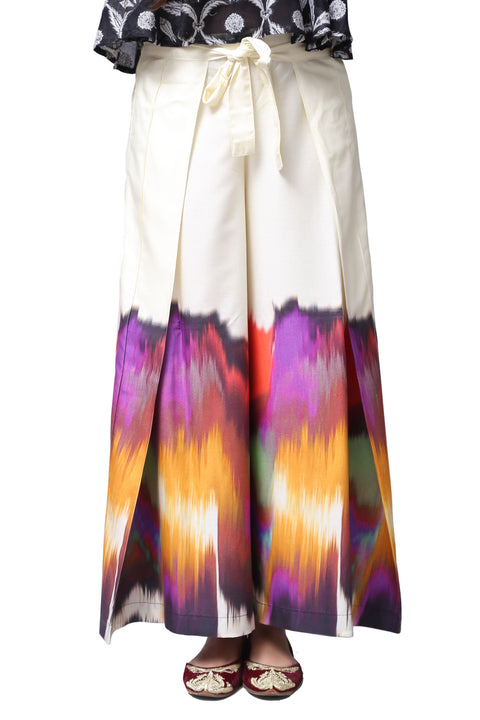 Generation - Off-White Splash And Striations Layered Viscose Pants