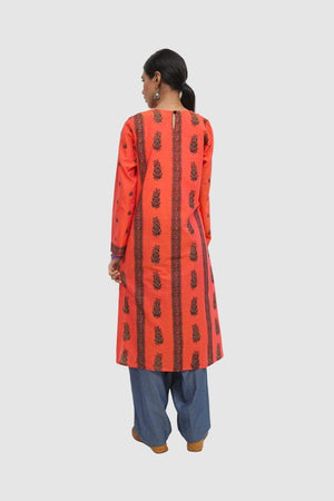 Generation - Carrot Slapdash Screen Printed Kurta - 1 PC