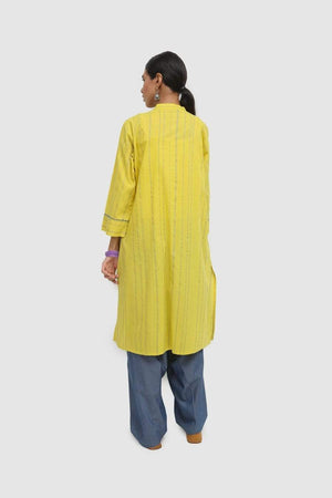 Generation - Yellow Geometric Stripes Embroidered Kurta - 1 PC