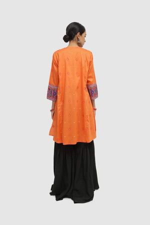 Generation - Orange Balochi Blend Scunched Waist Shirt - 1 PC
