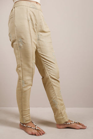 Generation - Beige Mushk Embroidered Pants