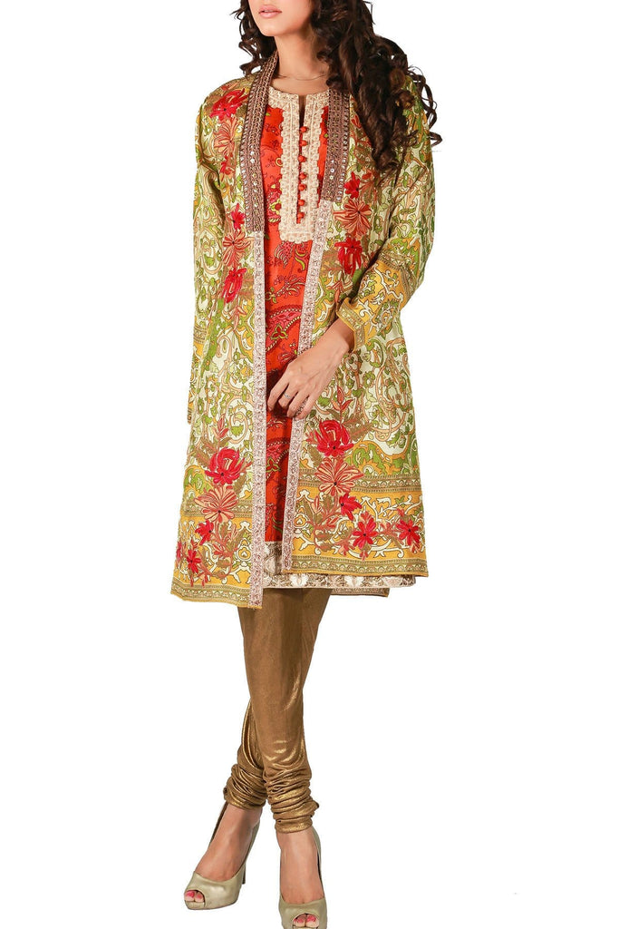 Shamaeel - Hand Embroidered Digitally Printed Silk Coat With Silk Inner