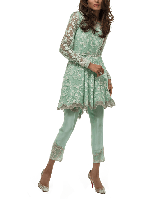 Sania Maskatiya - Indian Net Embroidered Zardoze Worked Peplum