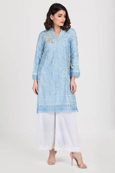 Shehrnaz - Blue Chicken Kaari Embroidered Shirt