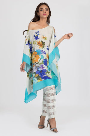 Shehrnaz - Off White Screen Print Poncho