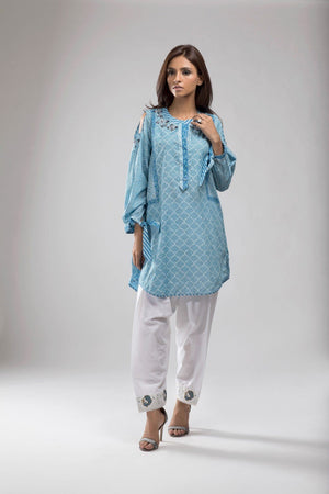 Shehrnaz - Blue Block Print Shirt