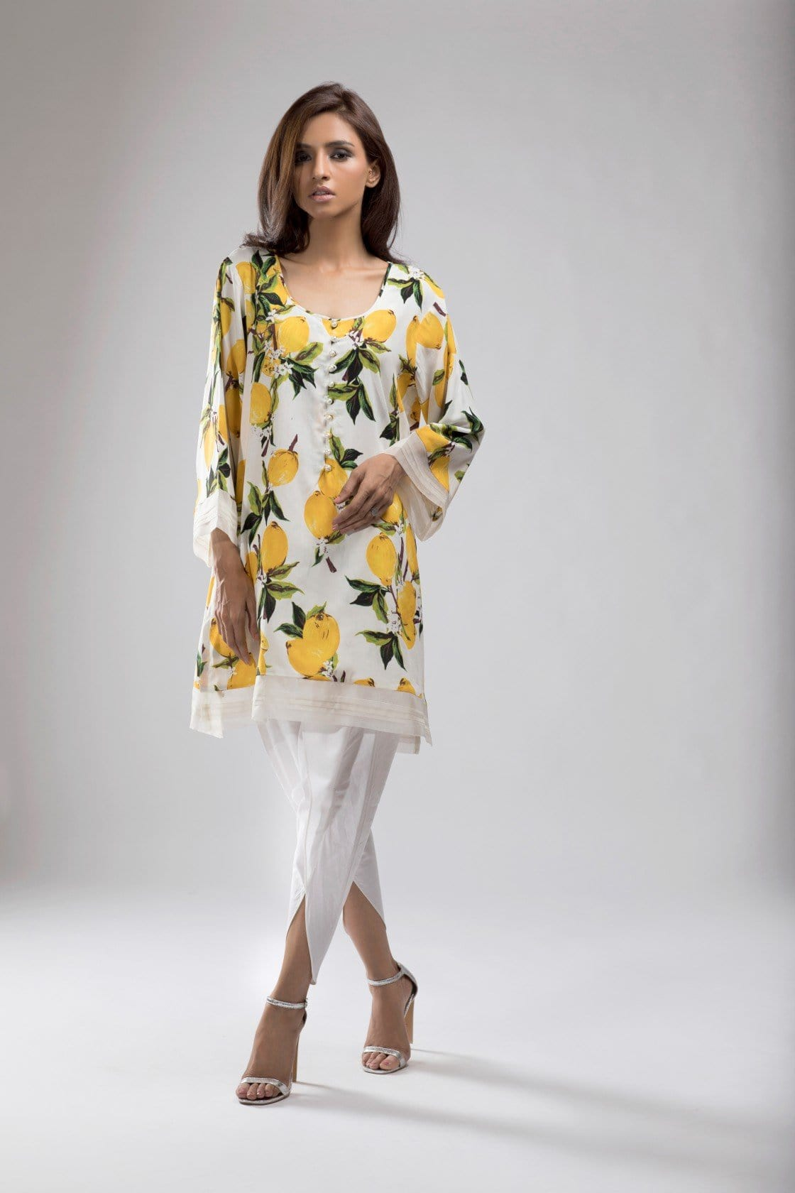 Shehrnaz - Off White With Lemon Print Tunic Clearance Sale