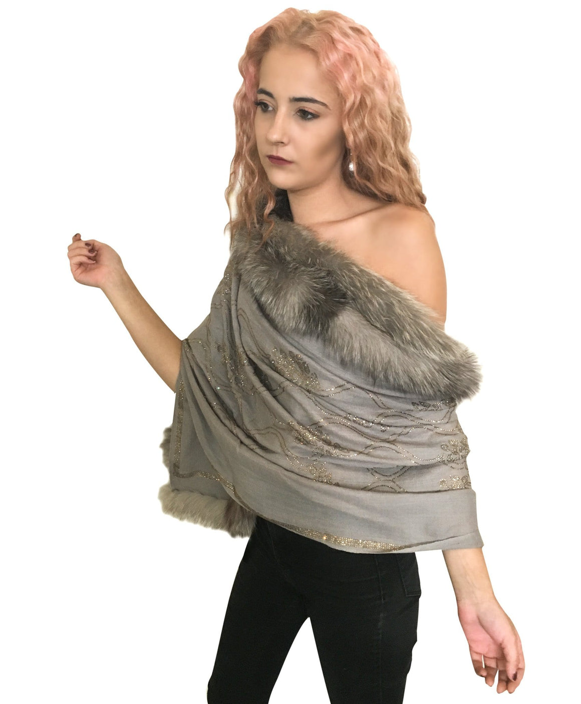 Amishi - Grey Luxury Crystal Embellished Fur Scarf