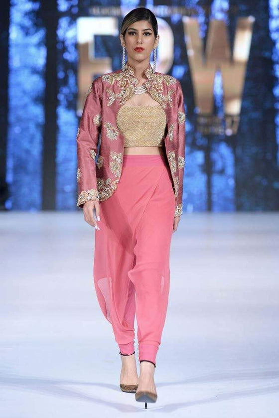 Sanam Chaudhri - OFF THE RUNWAY - Tourmaline Pink Scoop Neck Jacket With Crop Top & Chiffon Lowers.