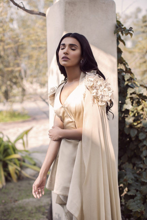 Saleha Kashif - Beige High Low Outfit