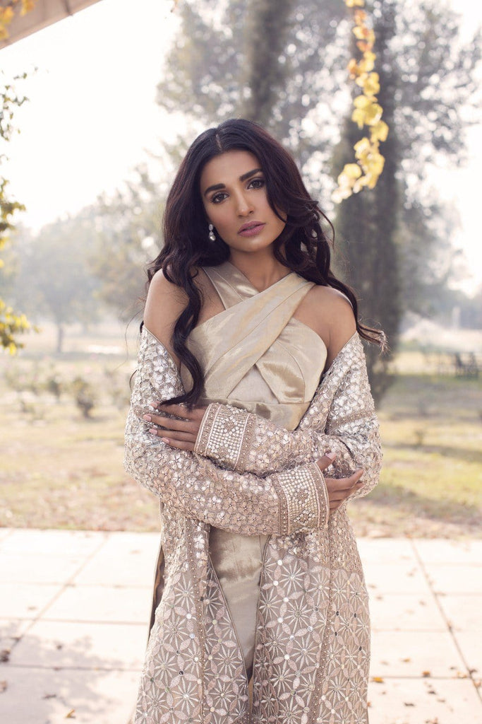 Saleha Kashif - Rose Gold Jumpsuit With Jacket