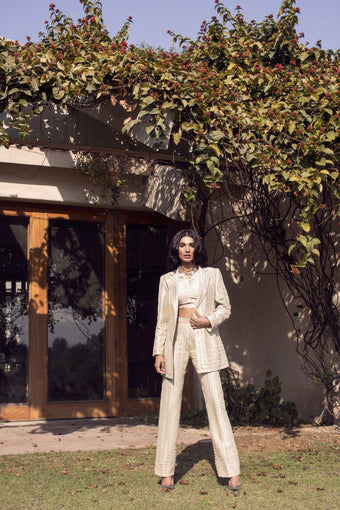 Saleha Kashif - Ivory Hand Work Jacket With Trousers