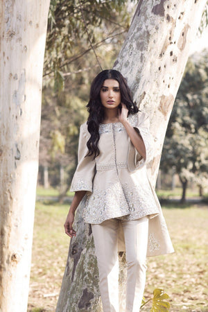 Saleha Kashif - Ivory High Low Jacket