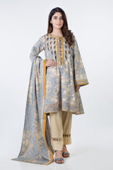 Bonanza Satrangi   Gray Lawn Suit - Stitched