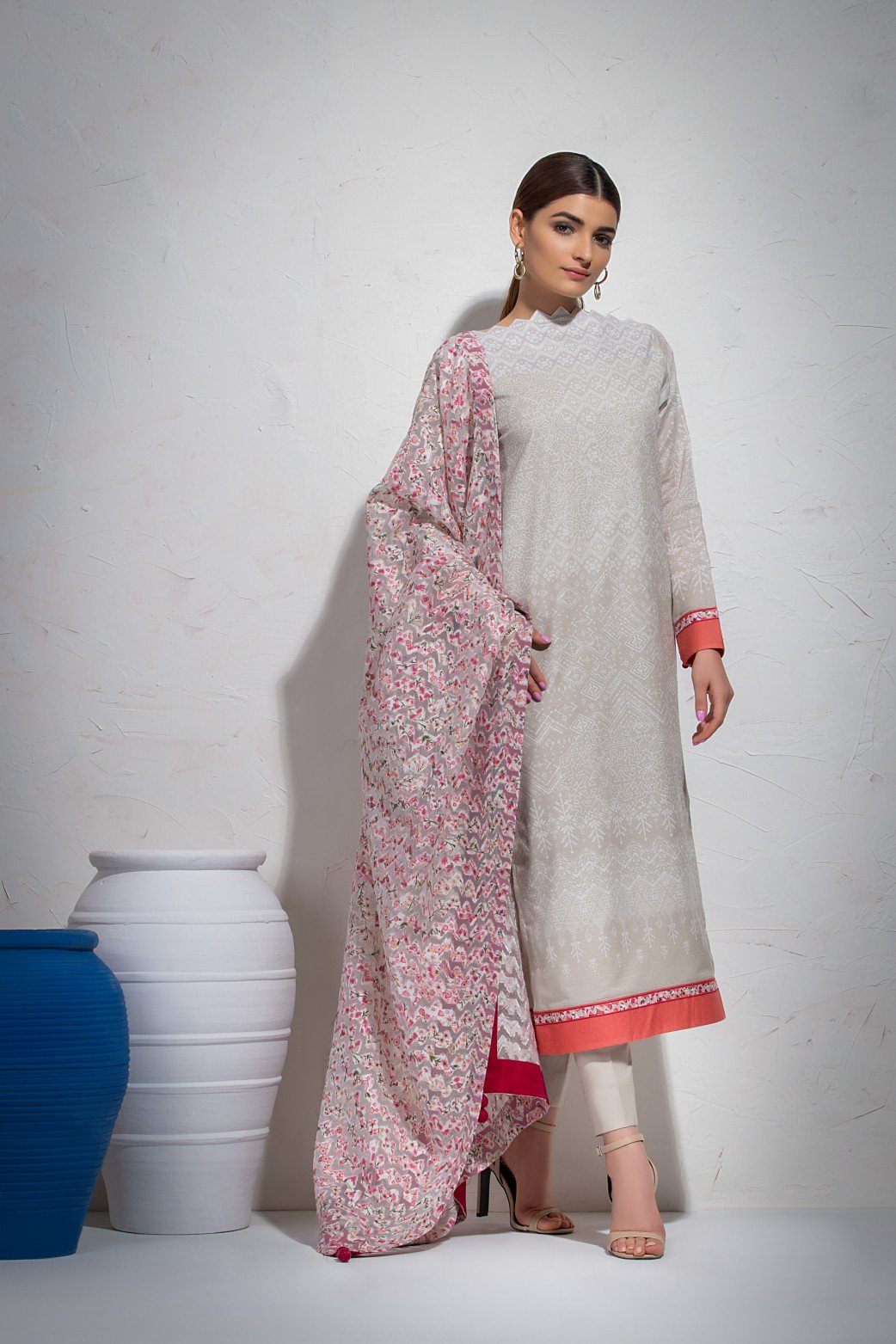 Alkaram Studio - Grey Dobby Shirt with Organza Dupatta