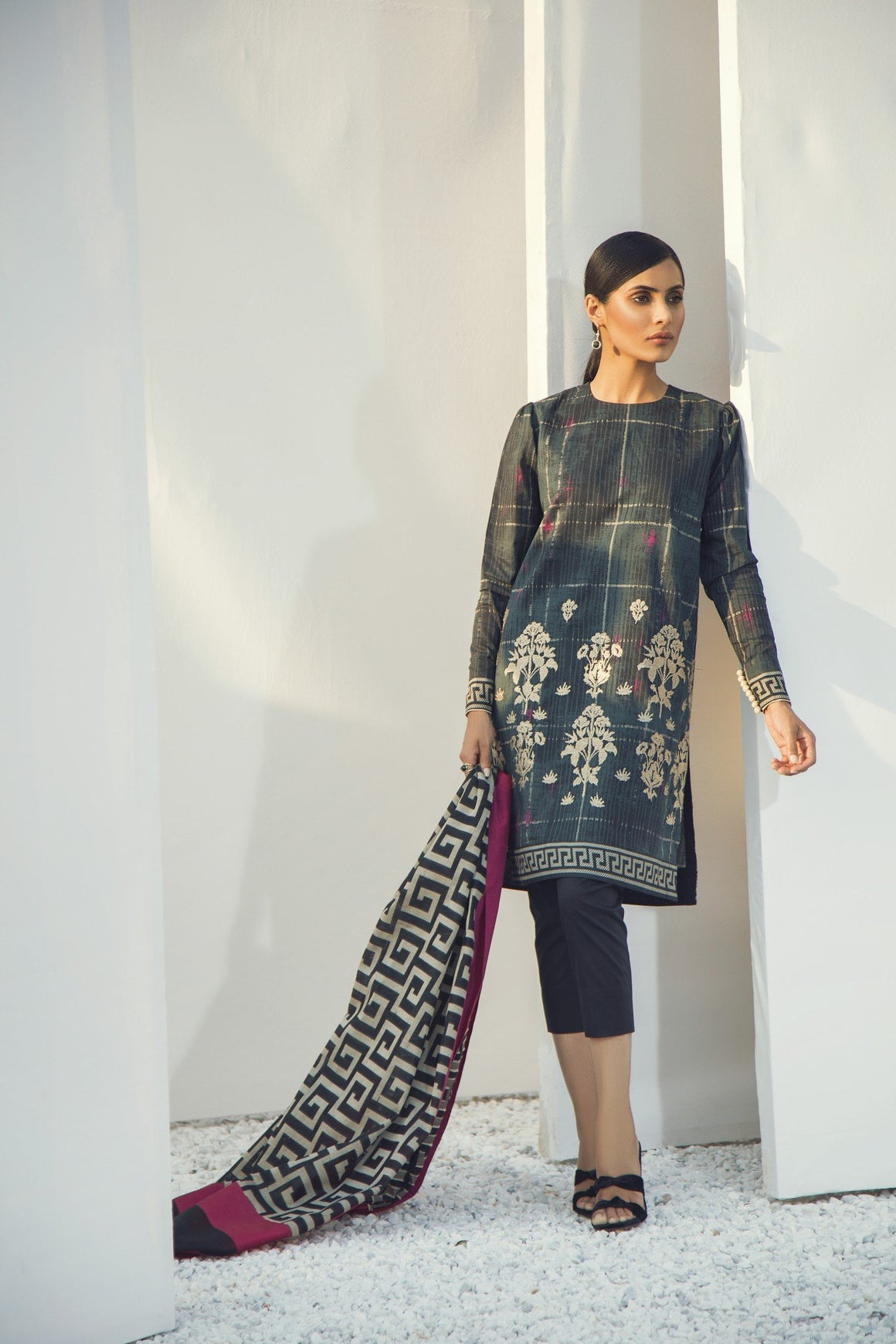 Alkaram Studio - Black Embroidered Shirt with Jacquard Dupatta
