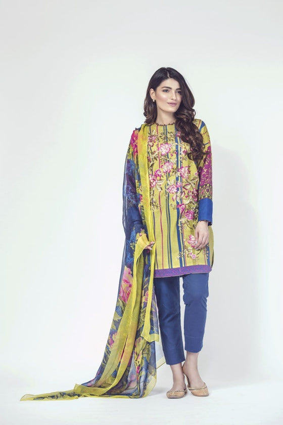 Alkaram Studio - Green 3 Piece Printed Embroidered Clearance Sale