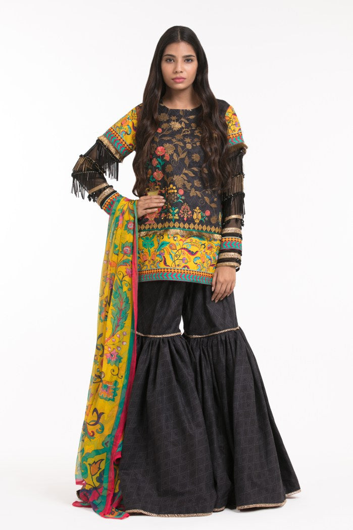 Alkaram Studio - Black 3 Piece Printed Embroidered