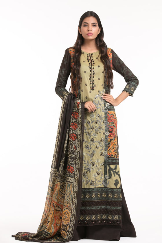 Alkaram Studio - Beige 3 Piece Printed Embroidered