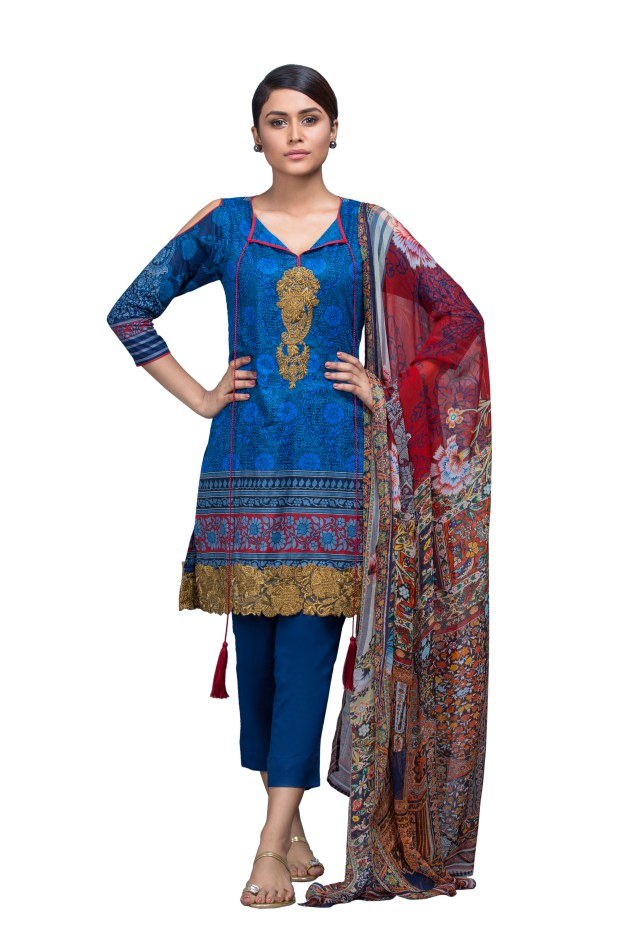 Alkaram Studio - Navy 3 Piece Printed Embroidered