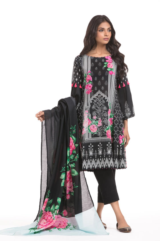 Alkaram Studio - Black 3 Piece Printed Lawn