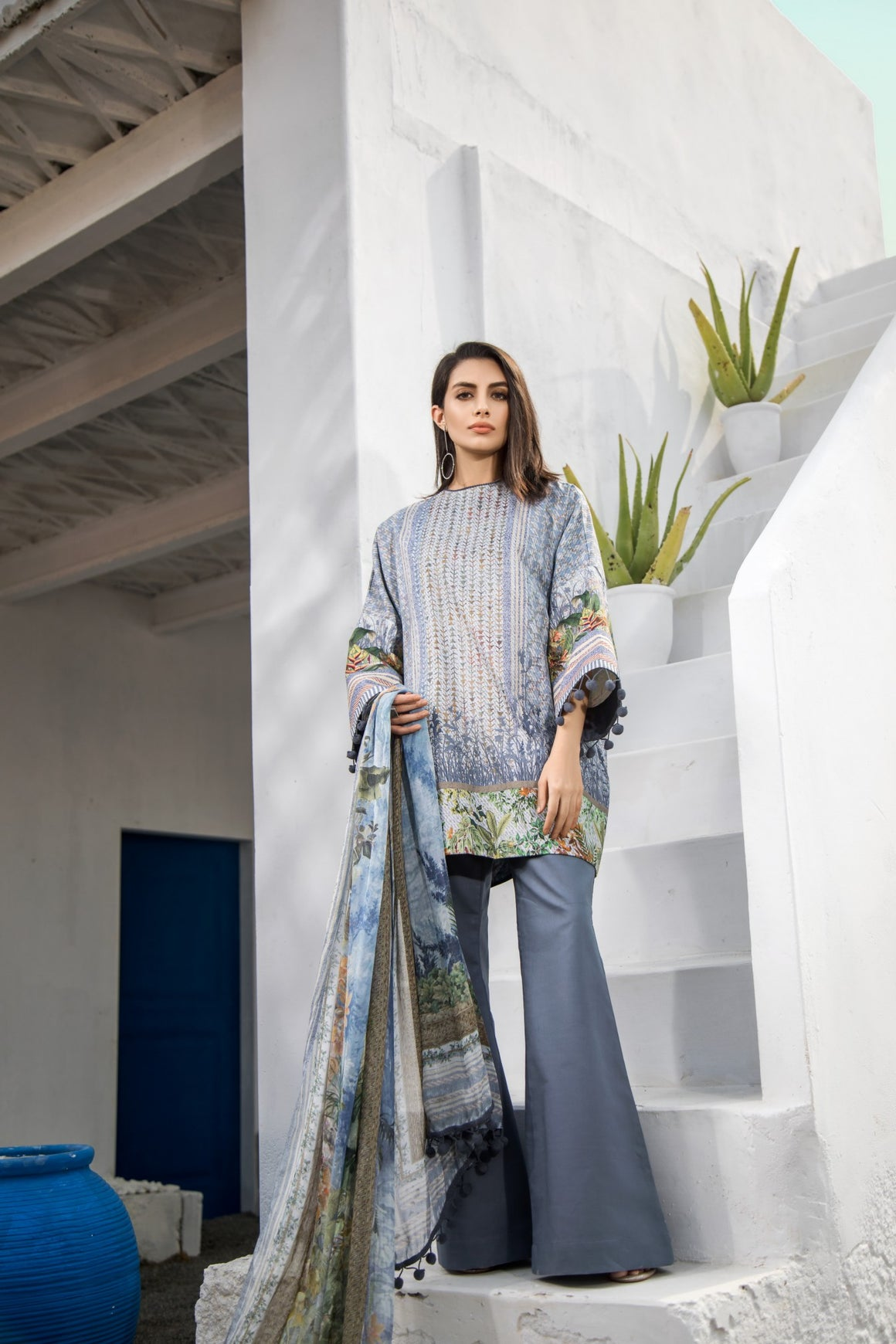 Alkaram Studio - Blue Digital Printed Shirt with Silk Dupatta