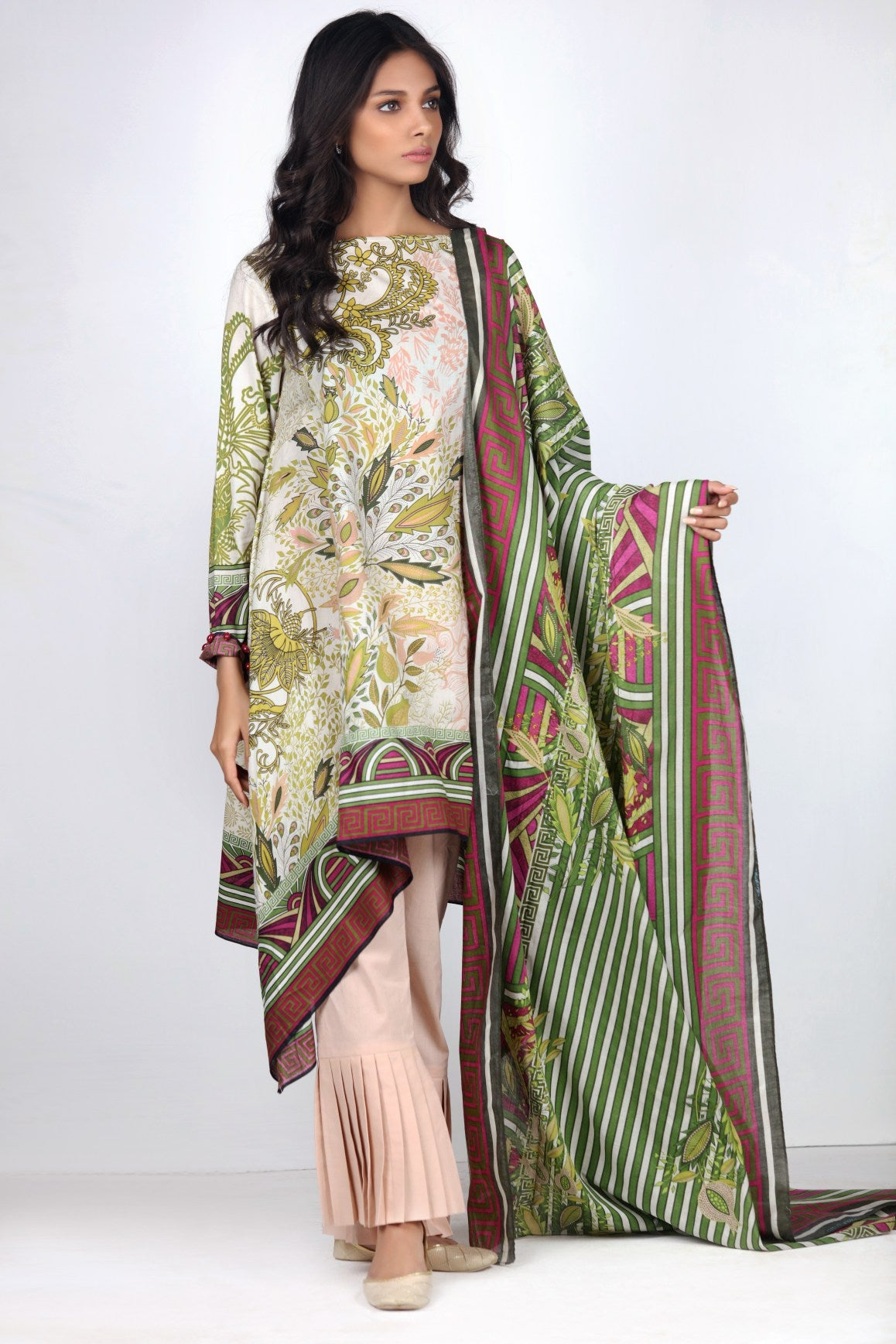 Alkaram Studio - Green 3 Piece Printed Lawn Clearance Sale