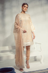 Alkaram Studio - Peach Dobby Shirt with Chiffon Dupatta