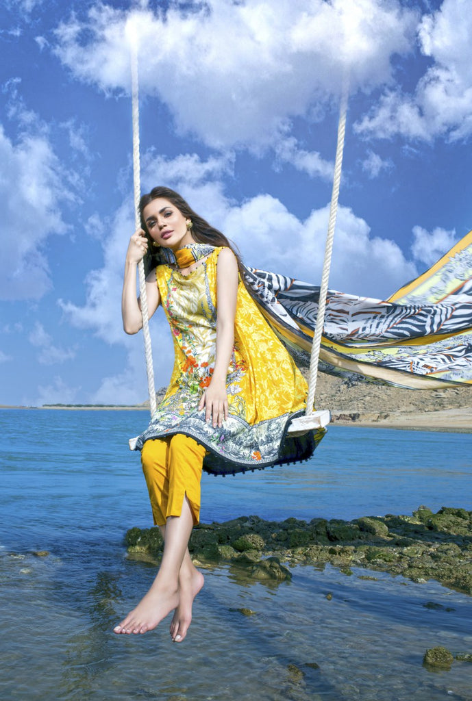 Alkaram Studio - Chrome Yellow 3 Piece Printed Lawn Clearance Sale