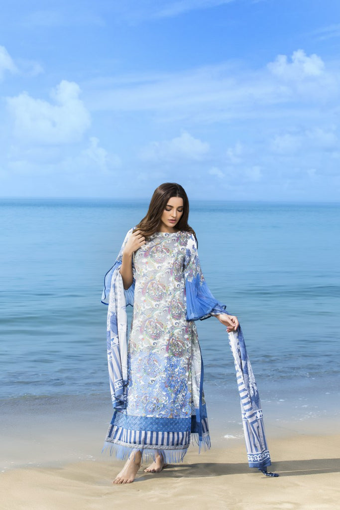 Alkaram Studio - Blue 3 Piece Embroidered Lawn